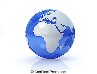 Earth globe stylized. Africa and Europe view.