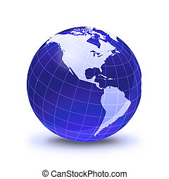 Earth globe stylized, in blue color, shiny and with white glowing grid. On white surface with dropped shadow. Pacific Ocean view.