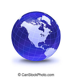 Earth globe stylized, in blue color, shiny and with white glowing grid. On white surface with dropped shadow. North America view.