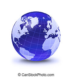 Earth globe stylized, in blue color, shiny and with white glowing grid. On white surface with dropped shadow. Atlantic Ocean view.