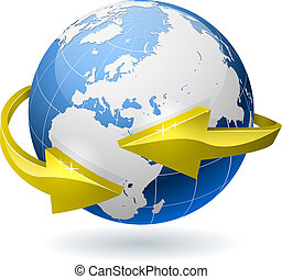 Earth globe surrounded by radial golden arrows.