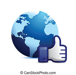 earth globe thumb up