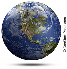 Earth globe - USA. Elements of this image furnished by NASA