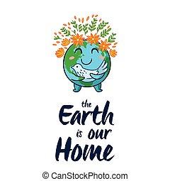 Earth globe vector cartoon card