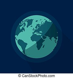 Earth globe vector, flat cartoon planet from space