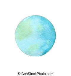 Earth globe. Vector illustration of watercolor earth....