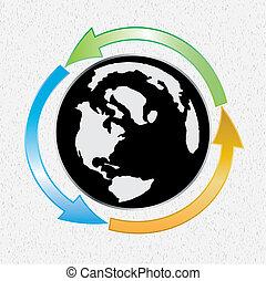 Earth globe whit arows