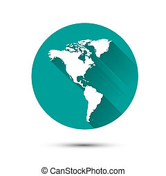 Earth globe white icon on green background with shadow