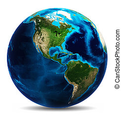 Earth globe white isolated. Elements of this image furnished...