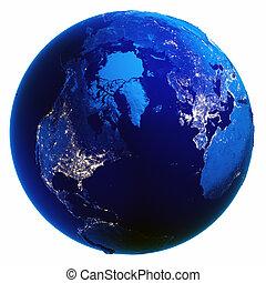 Earth globe white isolated