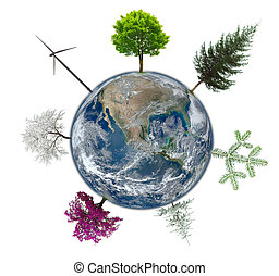 Earth globe with abstract trees for eco concept. Elements of this image furnished by NASA
