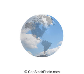 Earth Globe with blue sky with clouds