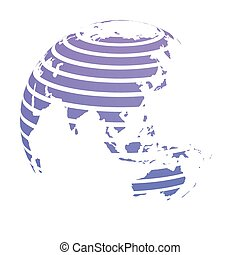 Earth globe with blue striped World land map focused on Asia. 3D vector illustration