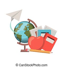 earth globe with books and apple fruit on white background