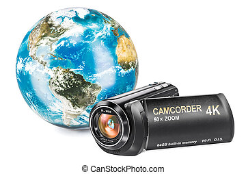 Earth Globe with camcorder, 3D rendering