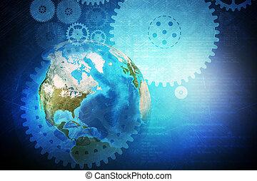 Earth globe with cog wheels