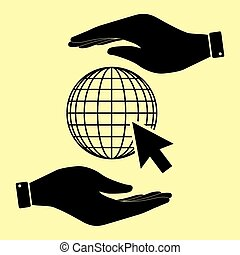 Save or protect symbol by hands. - Earth Globe with coursor....