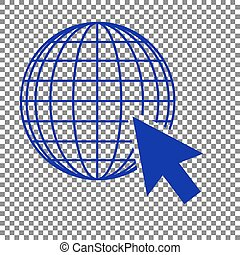 Earth Globe with cursor. Blue icon on transparent background.