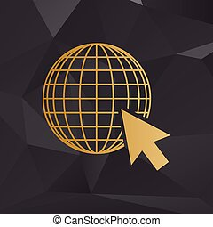 Earth Globe with cursor. Golden style on background with polygons.