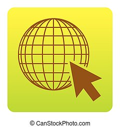 Earth Globe with cursor. Vector. Brown icon at green-yellow gradient square with rounded corners on white background. Isolated.