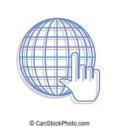 Earth Globe with cursor. Vector. Neon blue icon with cyclamen po