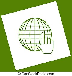 Earth Globe with cursor. Vector. White icon obtained as a result of subtraction rotated square and path. Avocado background.