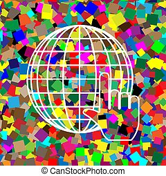 Earth Globe with cursor. Vector. White icon on colorful backgrou
