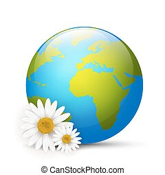 Earth globe with daisies