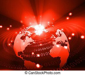 Earth globe with digital fibers