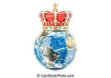 Earth Globe with golden crown, 3D rendering