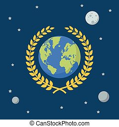 Earth globe with golden wreath on space background