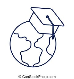 earth globe with graduation cap , line style icon