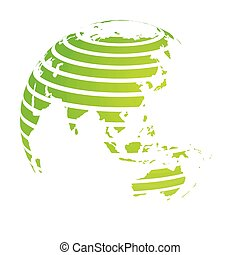 Earth globe with green striped World land map focused on Asia. 3D vector illustration