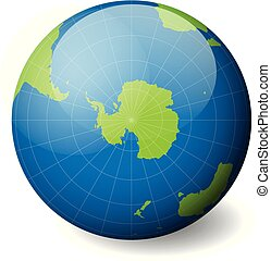 Earth globe with green world map and blue seas and oceans focused on Antarctica and South Pole. With thin white meridians and parallels. 3D glossy sphere vector illustration