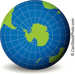 Earth globe with green world map and blue seas and oceans focused on Antarctica with South Pole. With thin white meridians and parallels. 3D vector illustration