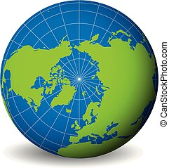 Earth globe with green world map and blue seas and oceans focused on Arctic Ocean and North Pole. With thin white meridians and parallels. 3D vector illustration