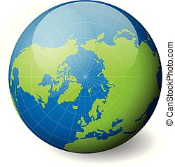 Earth globe with green world map and blue seas and oceans focused on Arctica with North Pole. With thin white meridians and parallels. 3D glossy sphere vector illustration