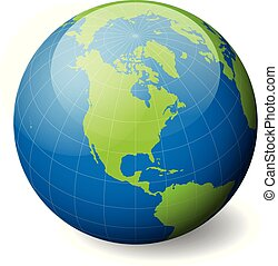 Earth globe with green world map and blue seas and oceans focused on North America. With thin white meridians and parallels. 3D glossy sphere vector illustration.