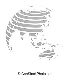 Earth globe with grey striped World land map focused on Asia. 3D vector illustration