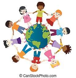 Earth globe with group of diverse multiethnic children in a circle smiling and holding hands. Diversity and culture. Unity and friendship. Community. Multicultural Kindergarten. Childhood