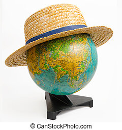 Earth Globe With Hat on White