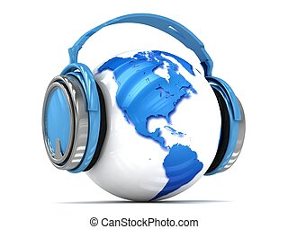 Earth globe with headphones. - 3d Earth globe with...