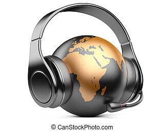 earth globe with headphones and microphone - Earth planet...
