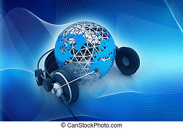 Earth globe with headphones