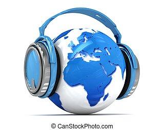Earth globe with headphones.