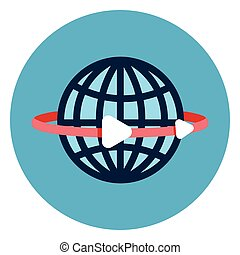 Earth Globe With Lines Icon Web Button On Round Blue Background