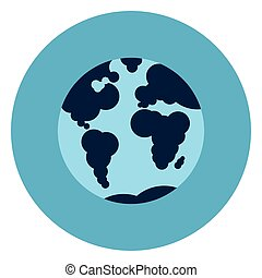 Earth Globe With Map Icon Web Button On Round Blue Background