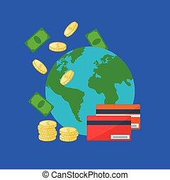 Earth globe with money