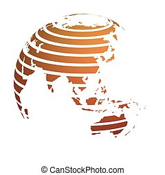 Earth globe with orange striped World land map focused on Asia. 3D vector illustration