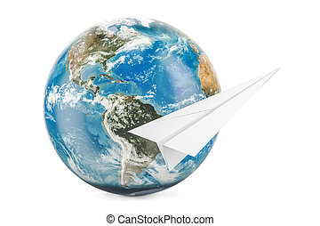 Earth Globe with paper plane, 3D rendering